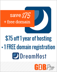 $75 off a one-year hosting plan from Dreamhost + one free domain registration (a $10 value)